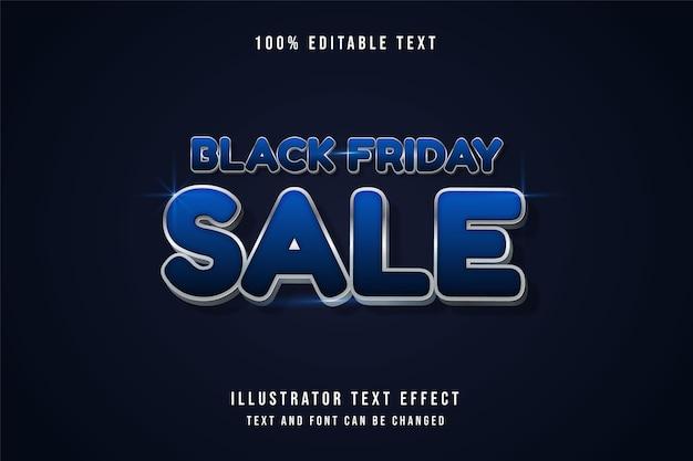 Vente de vendredi noir, effet de texte modifiable 3d effet de style ombre grise dégradé bleu