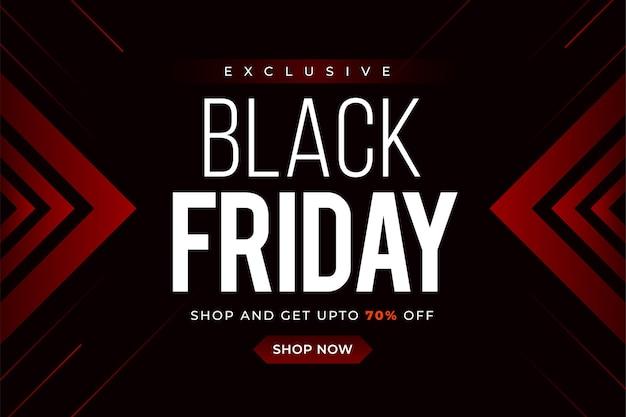 Vente de vendredi noir avec élément abstrait dégradé rouge sur fond noir