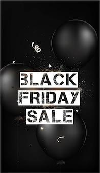 Vente de vendredi noir modèle de bannière offre verticale avec ballon noir.