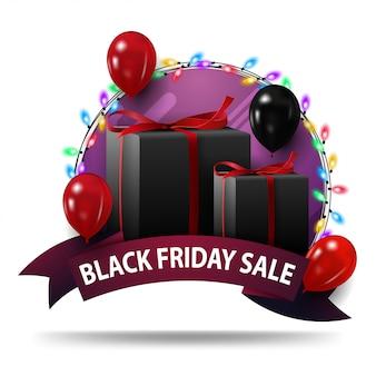 Vente de vendredi noir, modèle de bannière ronde violet