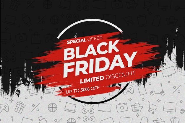 Vente de vendredi noir moderne avec fond d'icônes splash design et shop