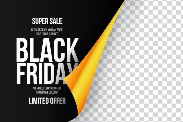 Vente de vendredi noir moderne avec papier jaune réaliste