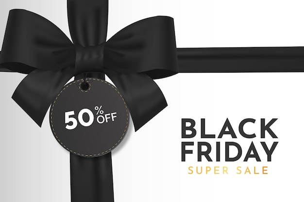 Vente de vendredi noir moderne avec ruban noir réaliste