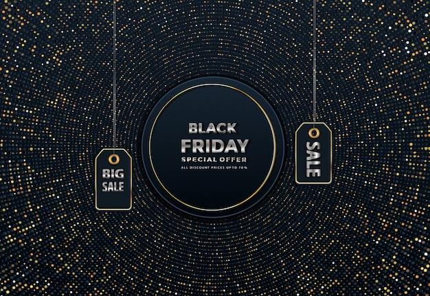 Vente de vendredi noir noir sur la bannière de prix étiquette or
