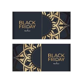 Vente de vendredi noir de publicité festive bleu foncé avec motif doré luxueux