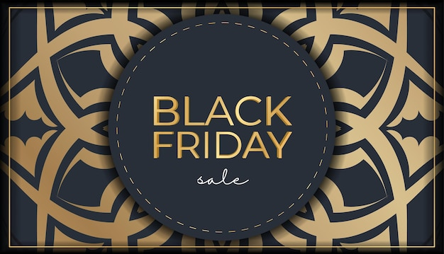 Vente de vendredi noir de publicité festive bleu foncé avec ornement doré ancien