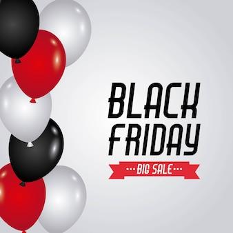 Vente vendredi noir rouge et ballons noirs et blancs