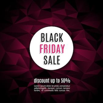 Vente vendredi noir vente bannière sur couche rouge triangulaire