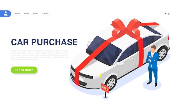 Vente d'une voiture neuve en concession. offre spéciale de prêt auto. gagnez une voiture à la loterie. le concessionnaire se tient près de la voiture avec un ruban rouge. illustration isométrique vectorielle.