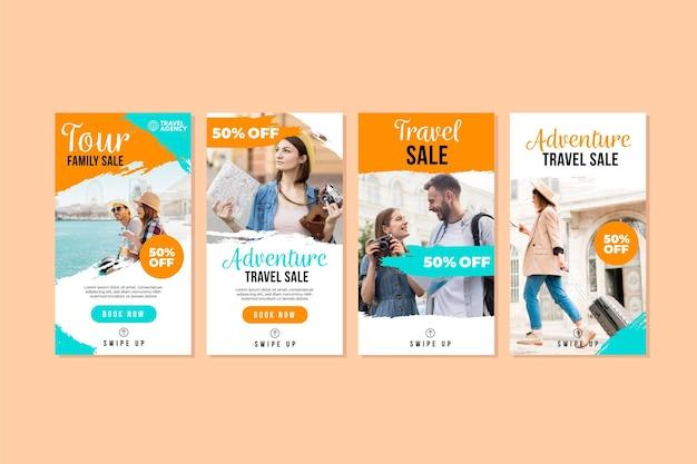 Vente De Voyage Histoires Instagram Vecteur Premium