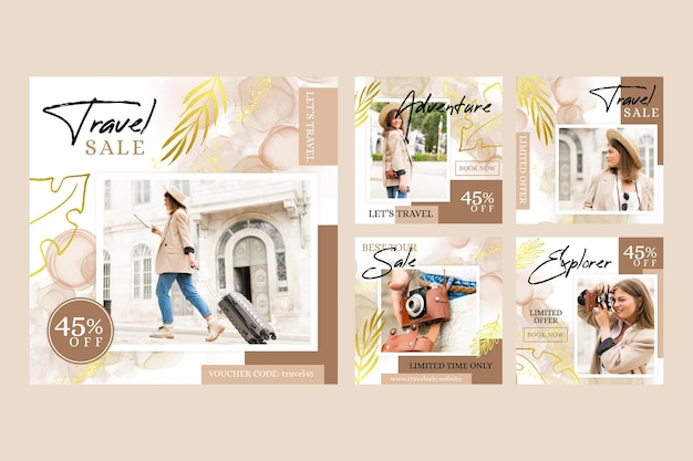Vente de voyage instagram post collection