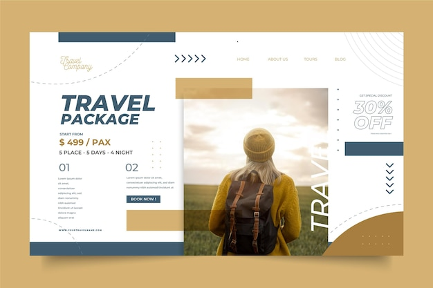 Vente de voyage avec page de destination photo