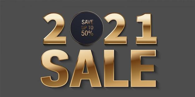 Ventes 2021. conception de bannière de vente de nouvel an sertie de texte promotionnel de vente.