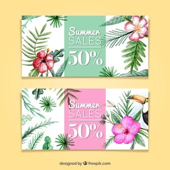 Ventes aquarelle d'été avec des plantes
