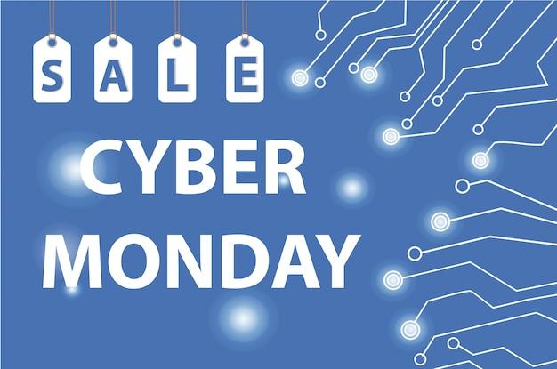 Ventes cyber monday, cyber monday super offrent des réductions. affiche du cyber lundi, bannière. illustration