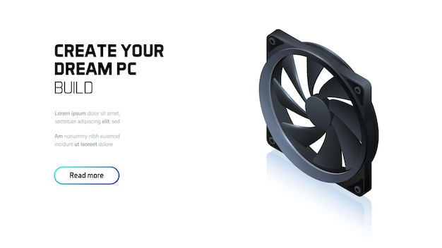 Ventilateur d'ordinateur pour refroidisseur de processeur ou boîtier de pc, isométrique réaliste 3d