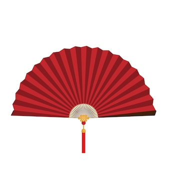 Ventilateur pliant chinois rouge sur fond blanc