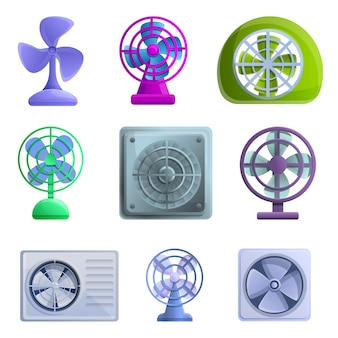 Ventilator icons set