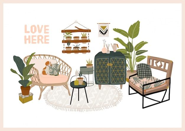 Verdure urbaine scandinave à la mode à la maison intérieur de la jungle avec des décorations pour la maison. cosy home garden meublé dans le style hygge