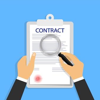 Vérification de contrat dans un style plat.