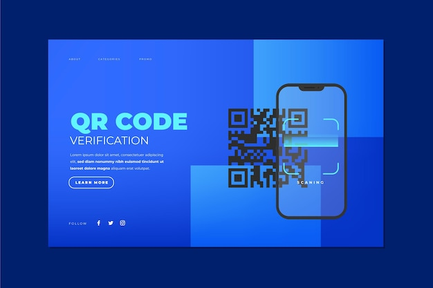 Vérification du code qr - page de destination