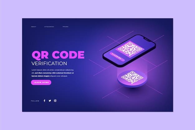Vérification du code qr - page de destination