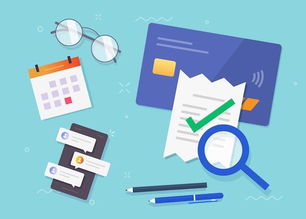 Vérification du paiement de la facture, vérification de la facture, recherche financière fiscale, coche d'évaluation de la fraude réussie