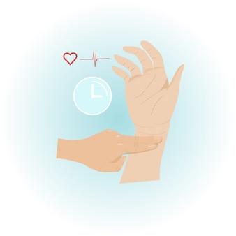 Vérification du pouls à la main