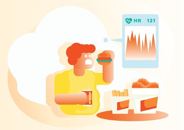 Vérification de la fréquence cardiaque quand manger de la malbouffe