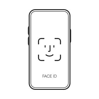 Vérification de l'identité du visage sur l'icône noire du téléphone isolée sur fond blanc. illustration vectorielle.