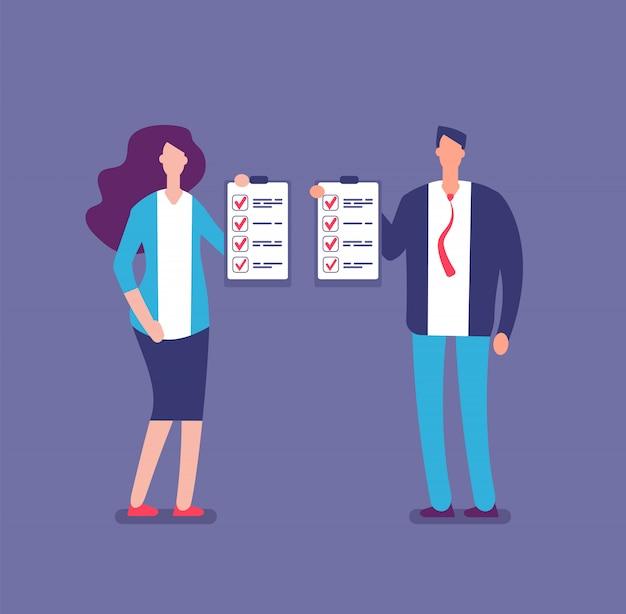 Vérification de la liste des plans. liste de contrôle du projet du gestionnaire de bureau. homme d'affaires et femme d'affaires détiennent des listes de contrôle vector illustration