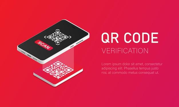 Vérification qr un téléphone portable avec un scanner lit le code qr dans un style isométrique
