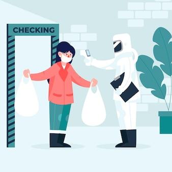 Vérification de la température corporelle après le shopping