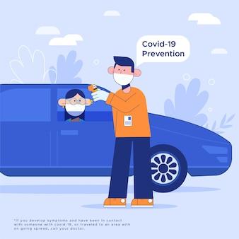Vérification de la température corporelle, contrôle routier