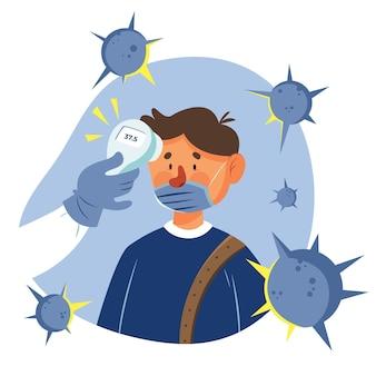 Vérification de la température corporelle homme entouré de virus