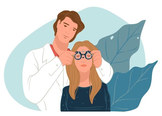 Vérification de la vue chez l'oculiste, soins d'un ophtalmologiste professionnel. spécialiste du choix de lunettes pour personnage prévoyant. rendez-vous chez le doc, examen optique du patient. vecteur dans un style plat