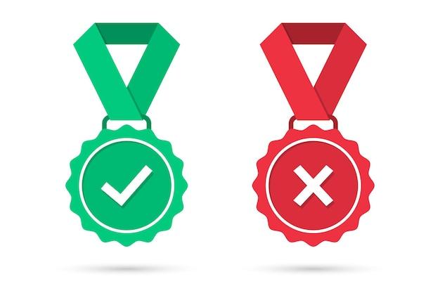 Vérifiez et croisez les icônes des médailles dans un design plat. insigne de médaille approuvé vert et rouge rejeté avec ombre. ensemble d'icônes de médailles certifiées. illustration vectorielle