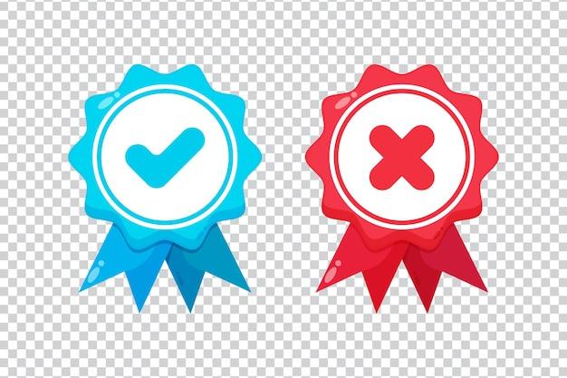 Vérifiez et croisez les icônes des médailles sur fond blanc