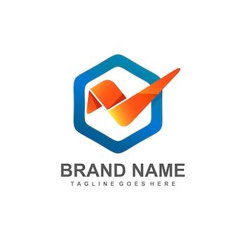 Vérifiez l'icône avec la création de logo de cadre hexagonal