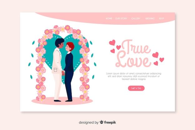 Véritable amour page de destination de mariage