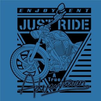 Un véritable aventurier, illustration de vecteur de moto