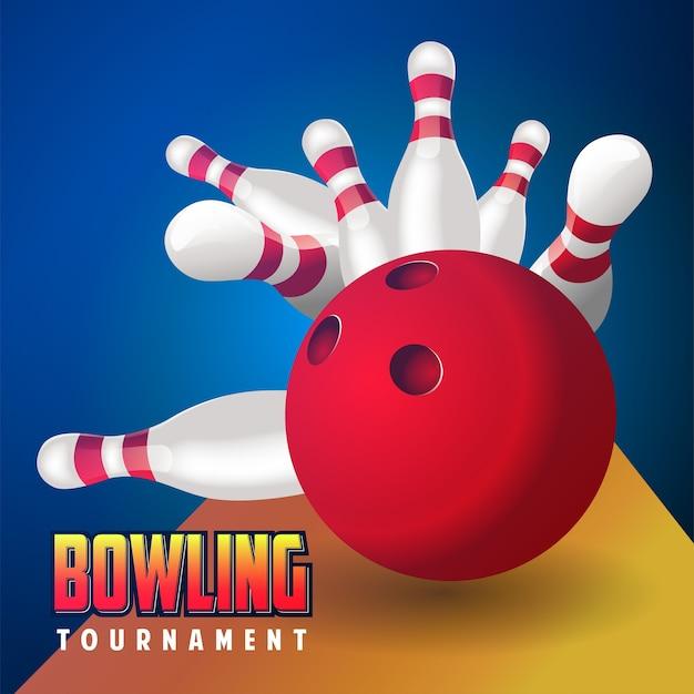 Véritable boule rouge de bowling réaliste