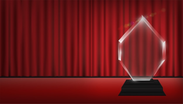Véritable trophée acrylique transparent 3d