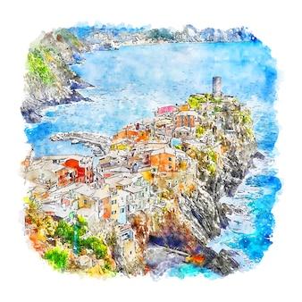 Vernazza italie illustration aquarelle croquis dessinés à la main