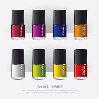 Vernis à ongles coloré réaliste illustration vectorielle
