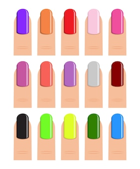 Vernis à ongles de différentes teintes.