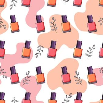Vernis à ongles, feuilles, modèle sans couture de taches de vernis à ongles.