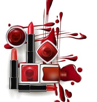 Le vernis à ongles rouge tombe avec le rouge à lèvres rouge. illustration vectorielle de modèle