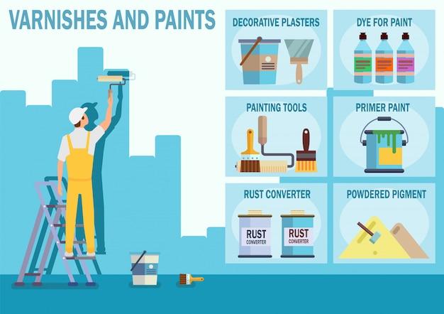 Vernis et peintures stockent un site web vectoriel plat