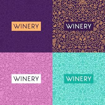 Verre à vin et raisins fond de lettrage vintage